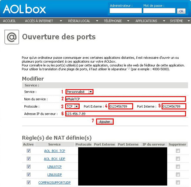 Interface web AOL BOX - ouverture de ports